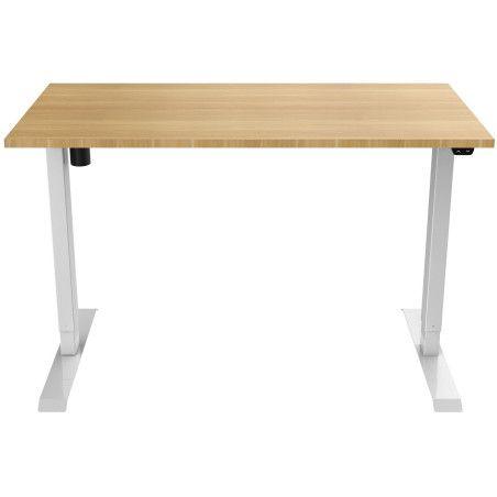 Sähköpöytä 140 x 70cm Valkoinen/Tammi