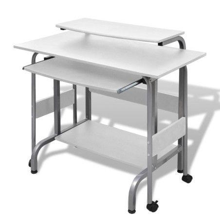 Valkoinen Tietokonepöytä Säädettävä Työasema