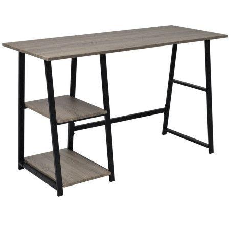 Kirjoituspöytä 2 hyllyllä harmaa ja tammenvärinen