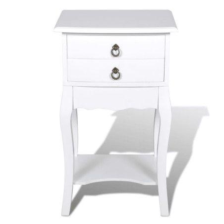 Yöpöytä 2 vetolaatikolla ja kaarevilla jaloilla valkoinen