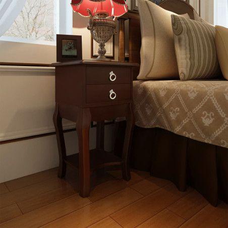 Yöpöytä 2 vetolaatikolla ja kaarevilla jaloilla ruskea