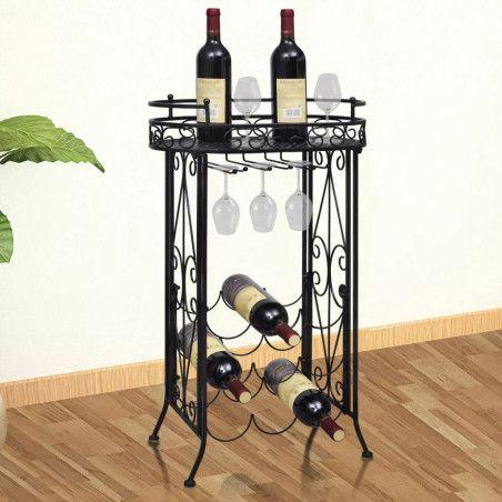Viinipulloteline lasien ripustuskoukuilla 9 pullolle metalli
