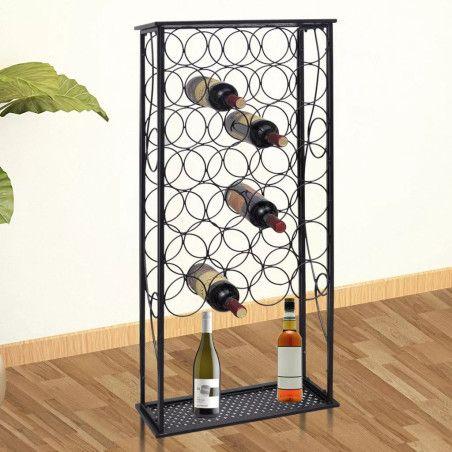 Viinipulloteline 28 pullolle metalli