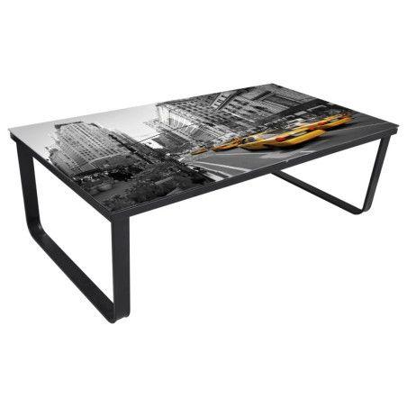 Sohvapöytä lasinen pöytälevy ja kaupunkimaisema Suorakaide