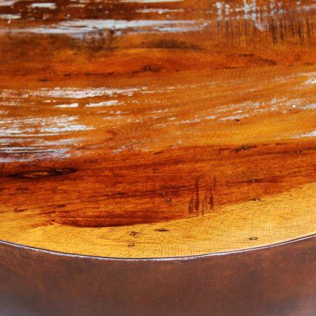 Kulhonmuotoinen sohvapöytä Teräspohja ja kierrätetty puu