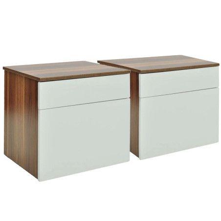 Yöpöytä 1 vetolaatikolla, 2 kpl Ruskea/valkoinen