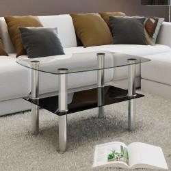 Lasinen sohvapöytä 2 tasoa
