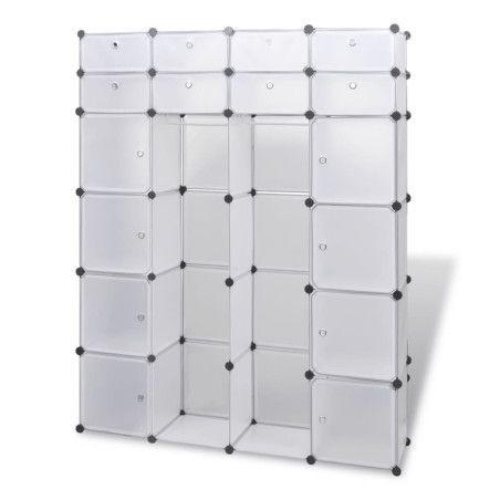 Moduulikaappi 18 lokeroa 37x146x180,5 cm valkoinen