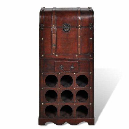 Puinen viinipulloteline/säilytysarkku 9 pullolle