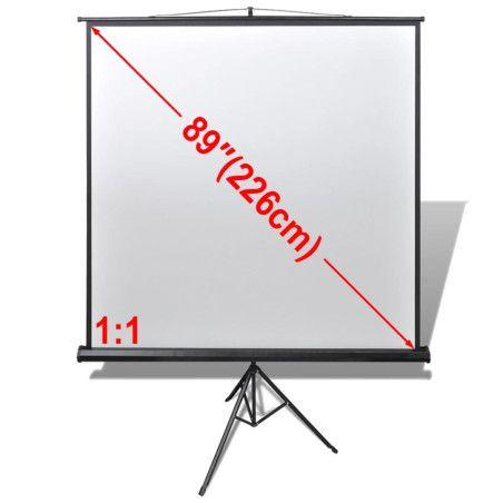 Manuaalinen Valkokangas Korkeussäädettävällä Telineellä 160x160 cm 1:1