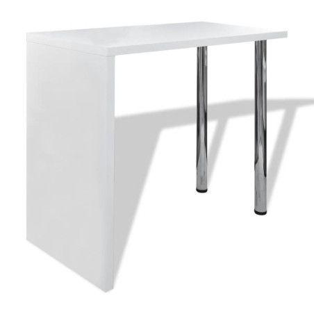 Baaripöytä 2 teräsjalalla MDF Korkeakiilto valkoinen