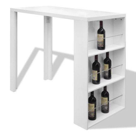 Baaripöytä viinipullotelineellä MDF Korkeakiilto valkoinen