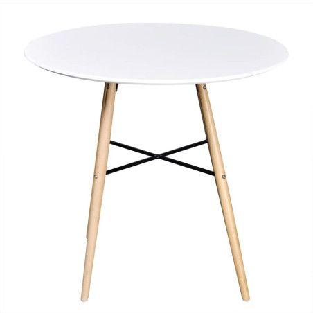 Ruokapöytä pyöreä MDF valkoinen