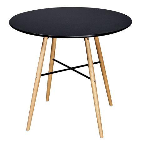 Ruokapöytä pyöreä MDF Musta
