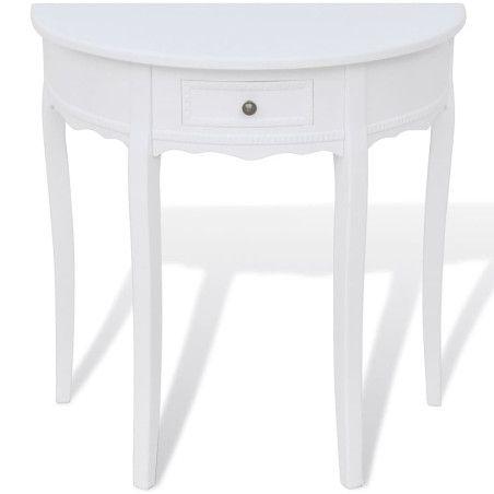 Puolipyöreä sivupöytä vetolaatikolla Valkoinen
