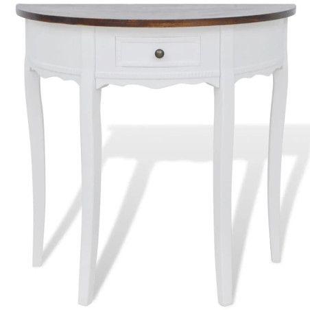 Valkoinen puolipyöreä sivupöytä vetolaatikolla Ruskea pöytälevy