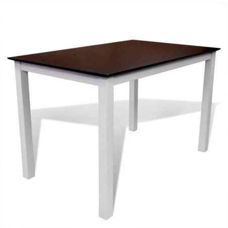 Ruokapöytä 110 cm Kiinteä puu Ruskea ja valkoinen