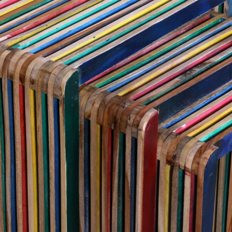 Sarjapöytä 3 kpl Värikäs kierrätetty tiikkisäle