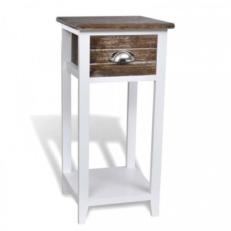 Yöpöytä 1 vetolaatikolla, valkoinen / ruskea