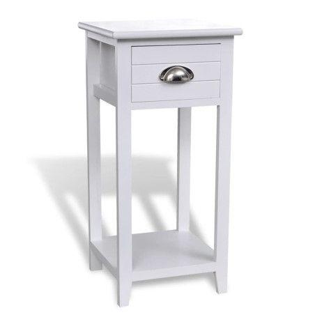 Yöpöytä 1 vetolaatikolla, Valkoinen