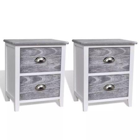 Yöpöytä laatikolla, 2kpl valkoinen / harmaa