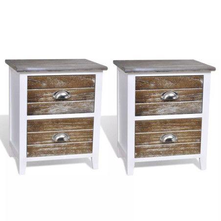 Yöpöytä laatikolla, 2kpl valkoinen / ruskea