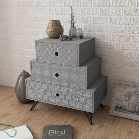 Yöpöytä 3 vetolaatikolla ja koristekuviolla harmaa