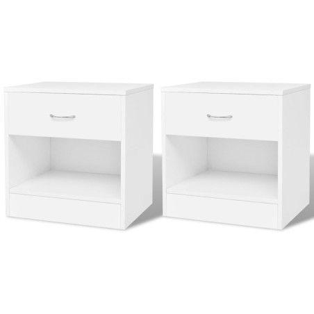 Yöpöytä 1 vetolaatikolla 2 kpl Valkoinen