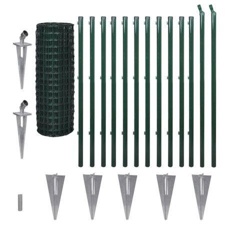 vidaXL Euroaita teräs 25 x 1,2 m vihreä