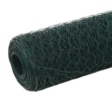 Kanaverkko teräs PVC pinnoitteella 25x1,5 m vihreä