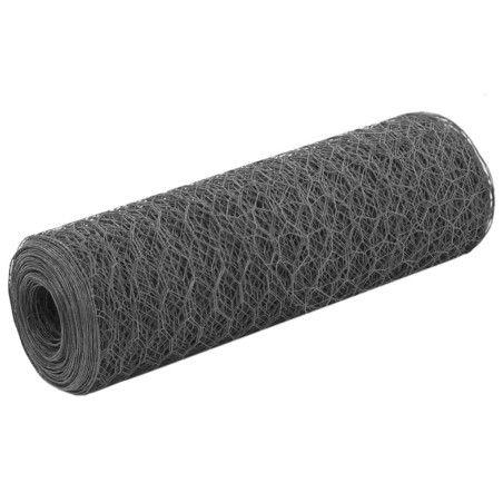 Kanaverkko teräs PVC pinnoitteella 25x0,5 m harmaa