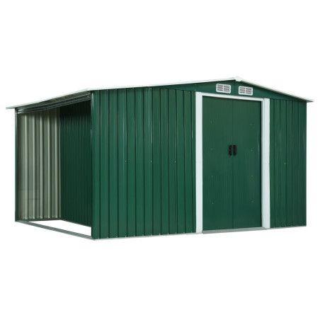 Puutarhavaja liukuovilla vihreä 329,5x131x178 cm teräs