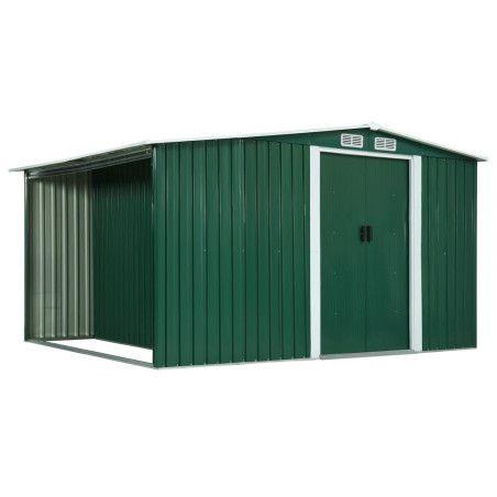 Puutarhavaja liukuovilla vihreä 329,5x205x178 cm teräs
