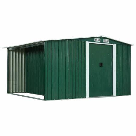 Puutarhavaja liukuovilla vihreä 329,5x259x178 cm teräs