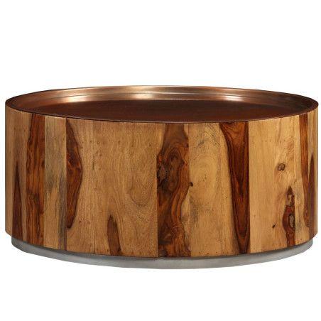 Sohvapöytä kiinteä seesampuu ja teräs 68 cm