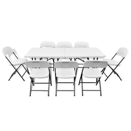 9-osainen Kokoontaittuva Ulkoruokaryhmä HDPE valkoinen 180 cm