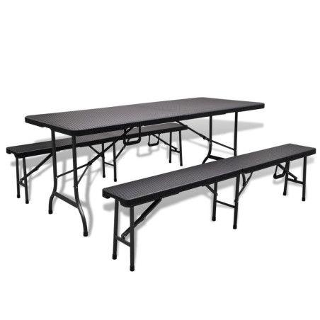Puutarhapöytä 2:lla penkillä HDPE Musta rottinkityyli
