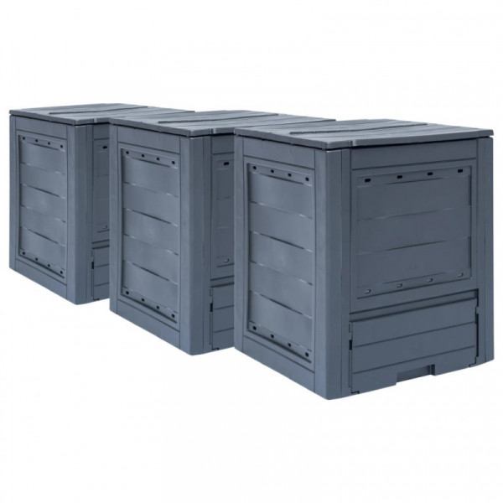 Puutarhan kompostit 3 kpl 60x60x73 cm 780 l harmaa