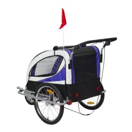 Pyörän peräkärry 2 in 1 360° (lila-musta)