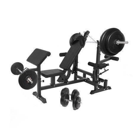 Monipuolinen treeniasema ja 100kg vinyylinen painosetti BLACK EDITION