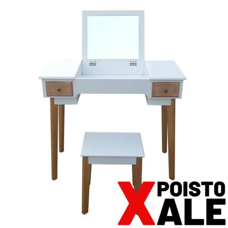 Peilipöytä jakkaralla, valkoinen POISTO