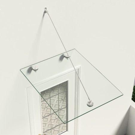 VSG-turvalasi etuoven katos 90x75 cm ruostumaton teräs