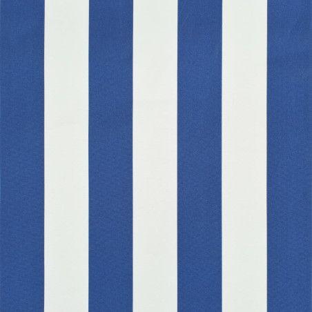 Sisäänkelattava markiisi 400x150 cm sininen ja valkoinen