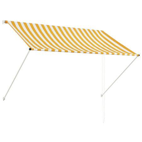 Sisäänkelattava markiisi 200x150 cm keltainen ja valkoinen
