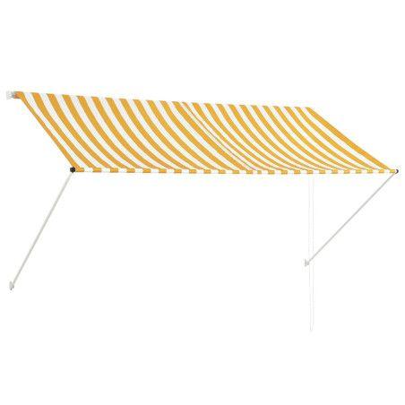 Sisäänkelattava markiisi 250x150 cm keltainen ja valkoinen