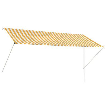 Sisäänkelattava markiisi 300x150 cm keltainen ja valkoinen