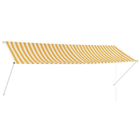Sisäänkelattava markiisi 350x150 cm keltainen ja valkoinen
