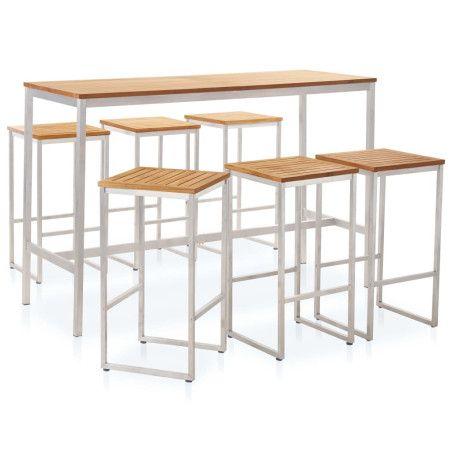 7-osainen baaripöytä setti täysi tiikki ja ruostumaton teräs