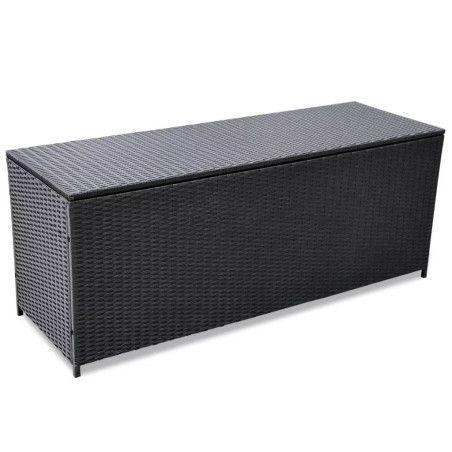 Puutarhan säilytyslaatikko musta 150 x 50 x 60 cm polyrottinki